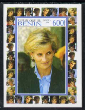 Benin 1998 Princess Diana Memoriam #8 - 600f individual imperf deluxe sheet unmounted mint. Note this item is privately produced and is offered purely on its thematic appeal