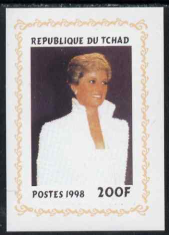 Chad 1998 Princess Diana Memoriam #1 - 200f individual imperf deluxe sheet unmounted mint. Note this item is privately produced and is offered purely on its thematic appeal. .