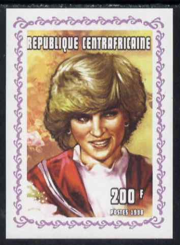 Central African Republic 1998 Princess Diana Memoriam #1 individual imperf deluxe sheet unmounted mint. Note this item is privately produced and is offered purely on its thematic appeal
