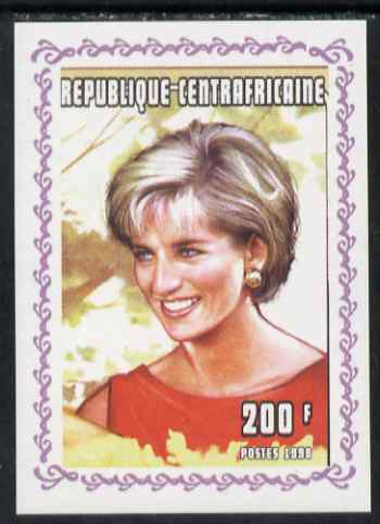 Central African Republic 1998 Princess Diana Memoriam #2 individual imperf deluxe sheet unmounted mint. Note this item is privately produced and is offered purely on its thematic appeal