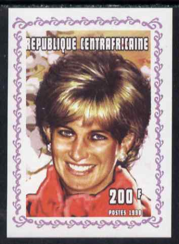 Central African Republic 1998 Princess Diana Memoriam #3 individual imperf deluxe sheet unmounted mint. Note this item is privately produced and is offered purely on its thematic appeal