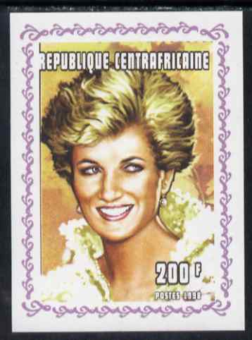 Central African Republic 1998 Princess Diana Memoriam #4 individual imperf deluxe sheet unmounted mint. Note this item is privately produced and is offered purely on its thematic appeal