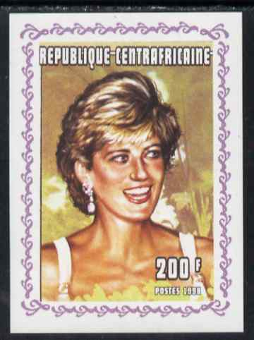 Central African Republic 1998 Princess Diana Memoriam #6 individual imperf deluxe sheet unmounted mint. Note this item is privately produced and is offered purely on its thematic appeal