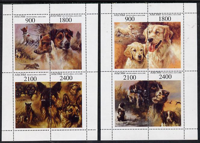 Abkhazia 1995 Dogs perf set of 8 (2 sheetlets of 4) unmounted mint