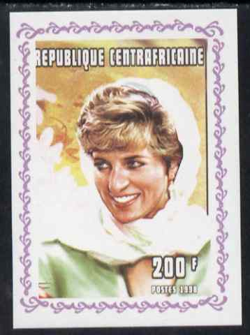 Central African Republic 1998 Princess Diana Memoriam #8 individual imperf deluxe sheet unmounted mint. Note this item is privately produced and is offered purely on its thematic appeal