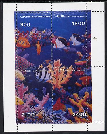 Abkhazia 1995 Fish & Coral composite perf sheetlet containing set of 4 unmounted mint, stamps on fish     marine-life
