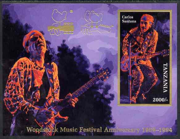 Tanzania 1994 25th Anniversary of Woodstock imperf m/sheet (on card) showing Carlos Santana unmounted mint