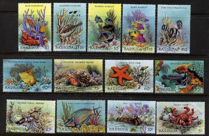 Barbuda 1987 Marine Life definitive set of 13 values complete (SG 960-72) unmounted mint