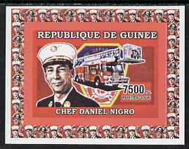 Guinea - Conakry 2006 Fire Trucks & Fire Fighters #1 individual imperf deluxe sheet (Chief Nigro) unmounted mint. Note this item is privately produced and is offered purely on its thematic appeal, as Yv 373