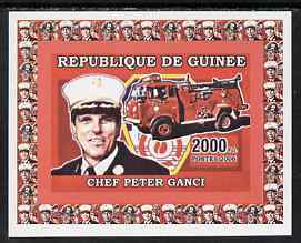 Guinea - Conakry 2006 Fire Trucks & Fire Fighters #2 individual imperf deluxe sheet (Chief Ganci) unmounted mint. Note this item is privately produced and is offered purely on its thematic appeal, as Yv 374