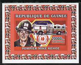 Guinea - Conakry 2006 Fire Trucks & Fire Fighters #3 individual imperf deluxe sheet (Mike Kehoe) unmounted mint. Note this item is privately produced and is offered purely on its thematic appeal, as Yv 375