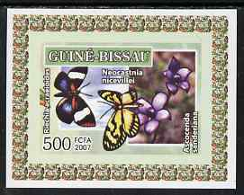 Guinea - Bissau 2007 Butterflies & Orchids individual imperf deluxe sheet #1 unmounted mint. Note this item is privately produced and is offered purely on its thematic appeal