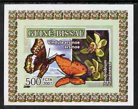 Guinea - Bissau 2007 Butterflies & Orchids individual imperf deluxe sheet #2 unmounted mint. Note this item is privately produced and is offered purely on its thematic appeal