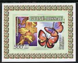 Guinea - Bissau 2007 Butterflies & Orchids individual imperf deluxe sheet #4 unmounted mint. Note this item is privately produced and is offered purely on its thematic appeal