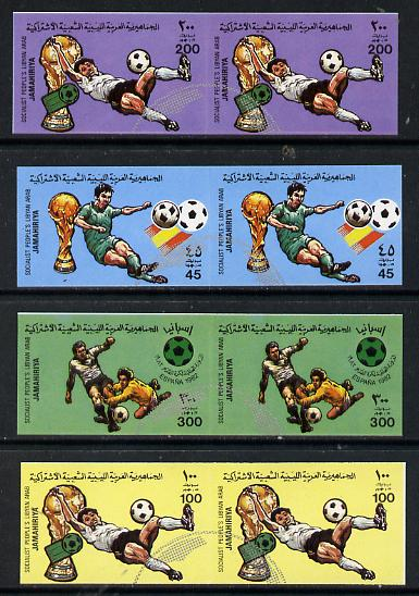 Libya 1982 Football World Cup set of 4 each in imperf pairs overprinted with part Football symbol in silver unmounted mint SG 1180-83var