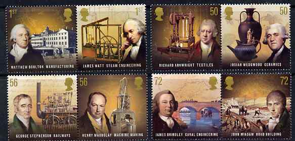 Great Britain 2009 Pioneers of the Industrial Revolution perf set of 8 (4 se-tenant pairs) unmounted mint
