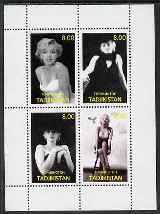 Tadjikistan 2000 Marilyn Monroe perf sheetlet containing 4 values (black & white) unmounted mint