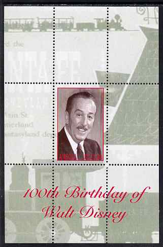 Angola 2001 Birth Centenary of Walt Disney perf s/sheet #4 unmounted mint. Note this item is privately produced and is offered purely on its thematic appeal