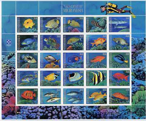 Micronesia 1995 Fishes perf sheetlet containing 25 x 32c values unmounted mint, SG 465-89