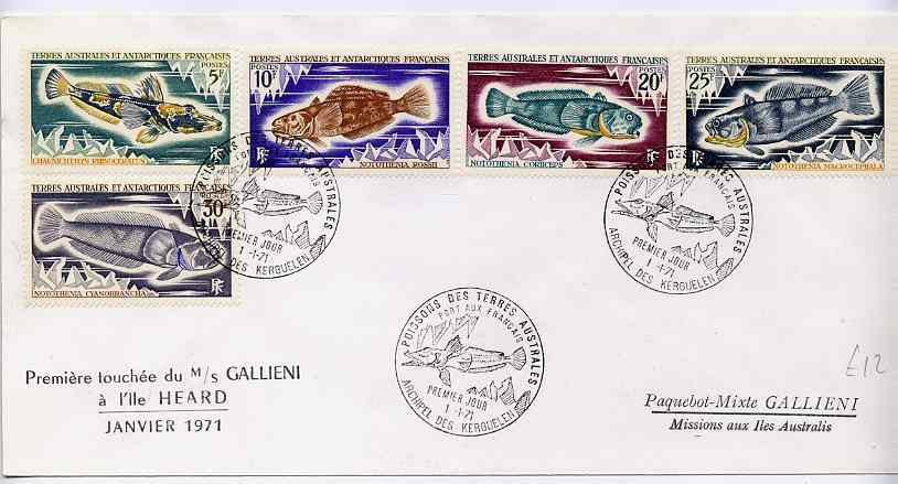 French Southern & Antarctic Territories 1971 Fish the five values issued on 1 Jan on 'MS Gallieni' cover with illustrated first day cancel, SG 61-3 & 65-6