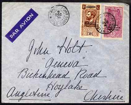 French Equatorial Africa 1936 cover to UK incl 3f value