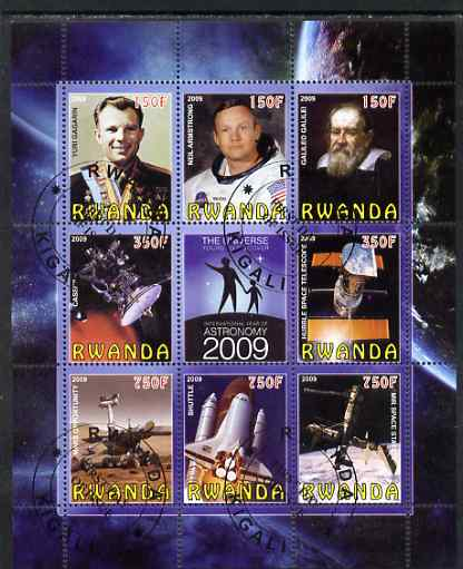 Rwanda 2009 International Year of Astronomy perf sheetlet containing 9 values fine cto used