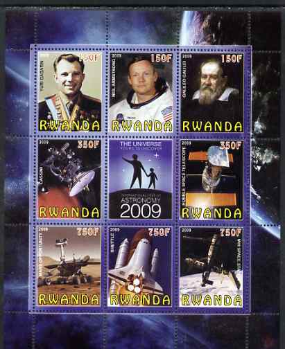 Rwanda 2009 International Year of Astronomy perf sheetlet containing 9 values unmounted mint