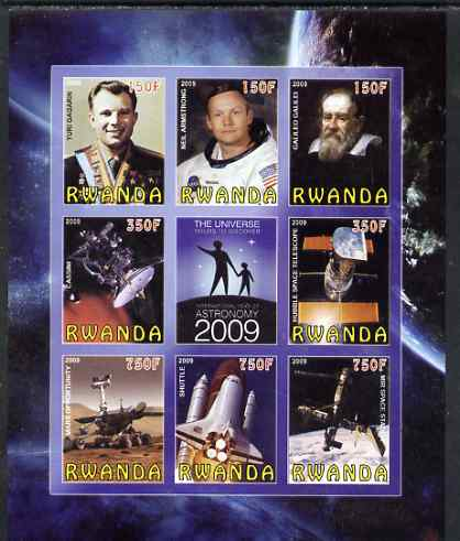 Rwanda 2009 International Year of Astronomy imperf sheetlet containing 9 values unmounted mint