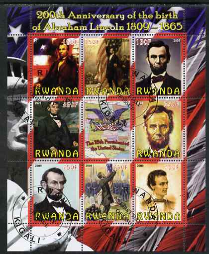 Rwanda 2009 200th Birth Anniversary of Abraham Lincoln perf sheetlet containing 9 values fine cto used