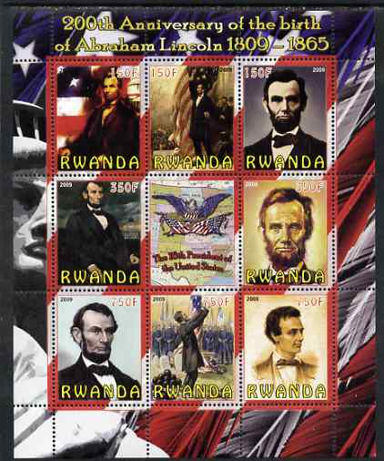 Rwanda 2009 200th Birth Anniversary of Abraham Lincoln perf sheetlet containing 9 values unmounted mint