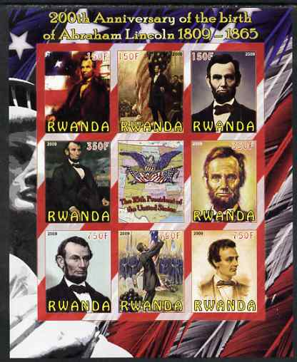Rwanda 2009 200th Birth Anniversary of Abraham Lincoln imperf sheetlet containing 9 values unmounted mint
