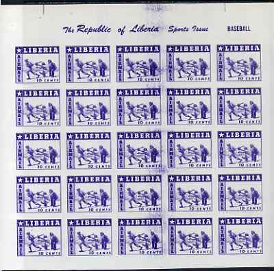 Liberia 1955 Baseball 10c imperf proof of blue printing only as SG 759 Complete sheet of 25 on ungummed paper (reverse shows red printing of 3c Tennis stamp SG 756)