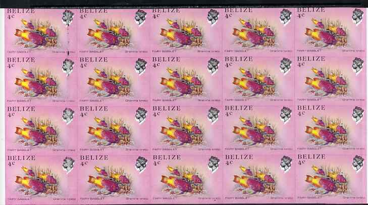 Belize 1984-88 Fairy Basslet 4c def spectacular imperf block of 20 showing superb 2mm shift of black (as SG 769) very fine double variety unmounted mint