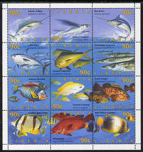 Liberia 1996 Fish perf sheetlet containing 12 values unmounted mint