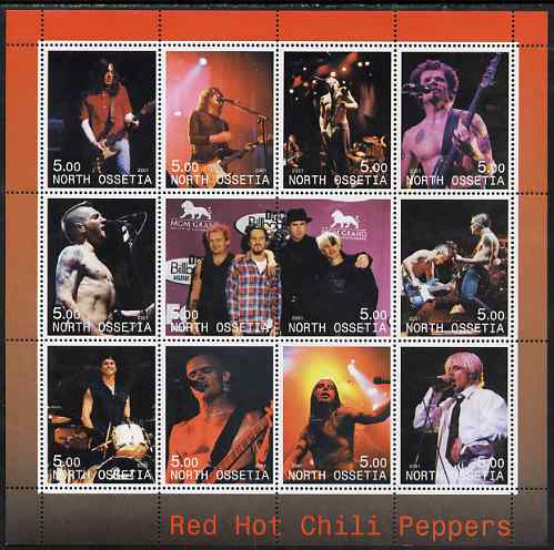North Ossetia Republic 2001 Red Hot Chili Peppers perf sheetlet containing complete set of 12 values unmounted mint