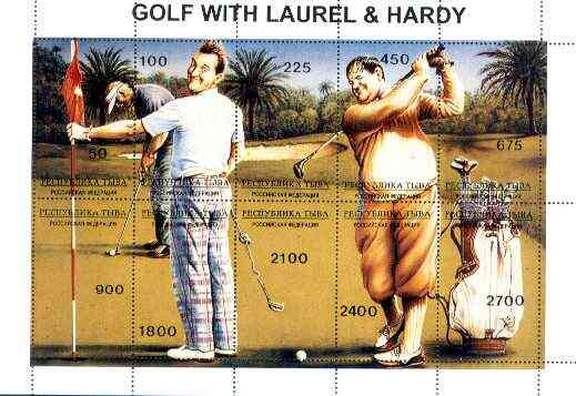 Touva 1995 Golf with Laurel & Hardy composite sheet containing complete perf set of 10 unmounted mint