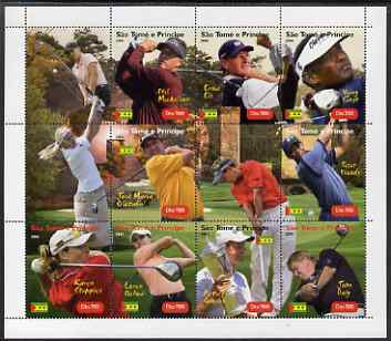 St Thomas & Prince Islands 2004 Golf perf sheetlet containing 9 values plus 3 labels, unmounted mint. Note this item is privately produced and is offered purely on its thematic appeal
