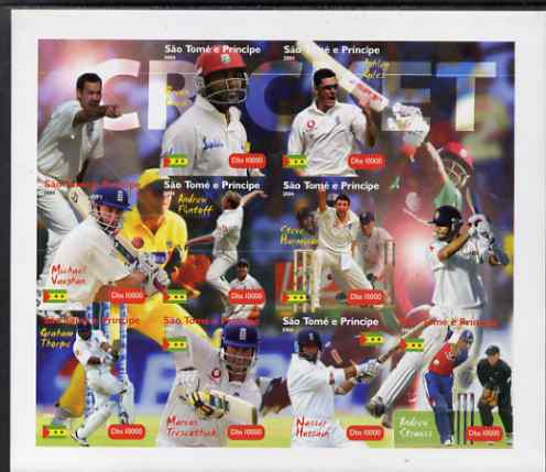 St Thomas & Prince Islands 2004 Cricket imperf sheetlet containing 9 values plus 3 labels, unmounted mint. Note this item is privately produced and is offered purely on its thematic appeal