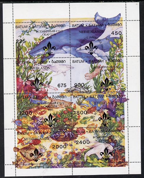 Batum 1995 Sea World composite perf sheet containing complete set of 8 (Whales, Fish, Shells) with Scout Jamboree overprint unmounted mint