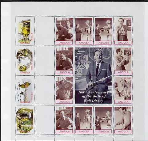 Angola 2001 Birth Centenary of Walt Disney perf sheetlet containing 12 values, se-tenant with Pooh Bear sheetlet of 4 values from uncut proof sheet, scarce thus