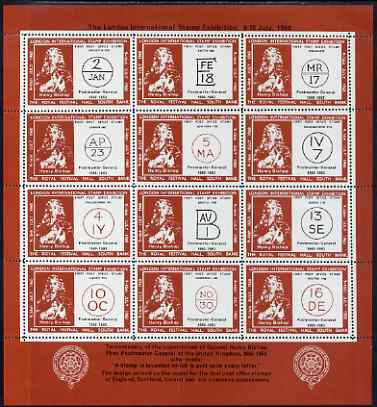 Cinderella - Great Britain 1960 London International Stamp Exhibition perf sheetlet containing 12 labels (Bishop Marks) on gummed paper unmounted mint