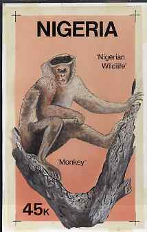 Nigeria 1984 Nigerian Wildlife - original hand-painted artwork for 45k value (Tantalus Monkey) by Francis Nwaije Isibor on card 5.5 inches x 8.5 inches endorsed D5