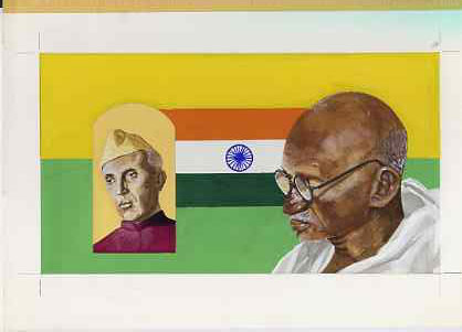 Chad 2009 Mahatma Gandhi original hand-painted artwork for 500F value showing portrait of Gandhi with Nehru & Indian Flag, on board 9 x 5 inches, without overlay