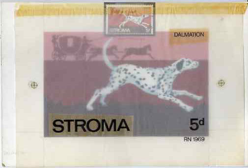 Stroma 1969 Dogs - Dalmation 5d original hand-painted artwork with overlays on board 180 x 115 mm plus issued stamp (used)