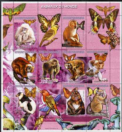 Madagascar 1999 Animals of the World perf sheetlet #2 containing 9 values plus 3 labels, unmounted mint. Note this item is privately produced and is offered purely on its thematic appeal
