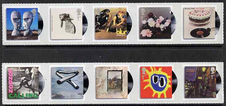 Great Britain 2010 Classic Album Covers self adhesive set of 10 (2 strips of 5) unmounted mint
