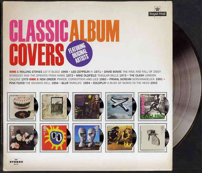 Great Britain 2010 Classic Album Covers perf m/sheet containing set of 10 values unmounted mint