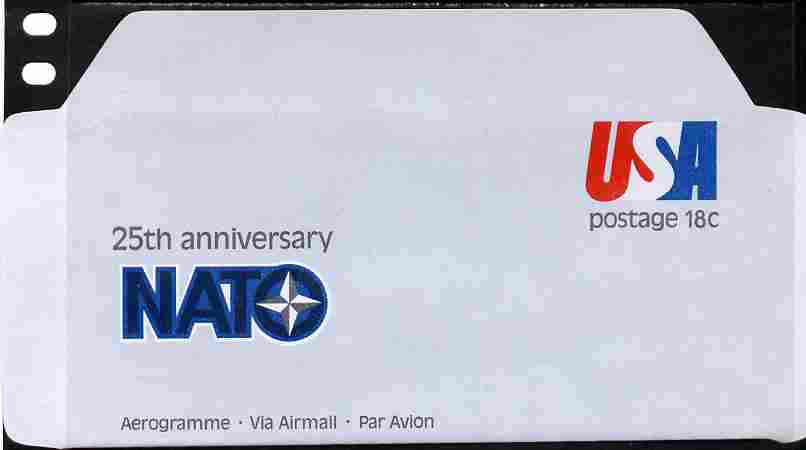 Aerogramme - United States 1974 25th Anniversary of NATO 18c air-letter sheet folded along fold lines otherwise unused and fine