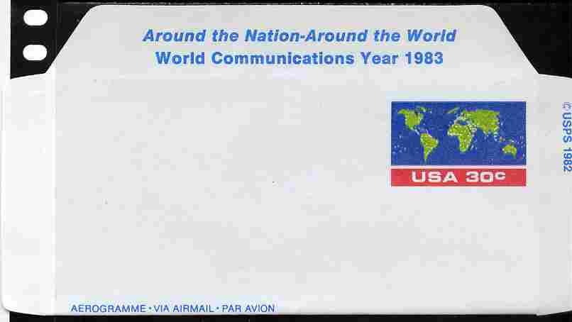 Aerogramme - United States 1982 World Communications Year 30c air-letter sheet (Map of the World) folded along fold lines otherwise unused and fine