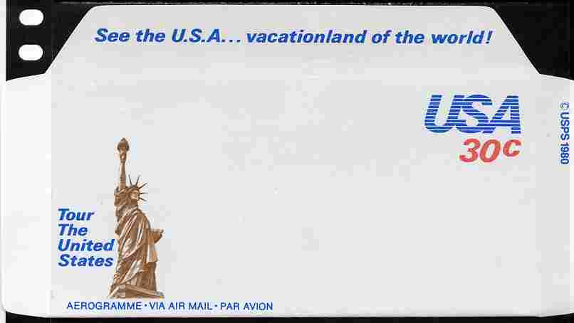 Aerogramme - United States 1980 Vacationland of the World 30c air-letter sheet (Statue of Liberty in brown) folded along fold lines otherwise unused and fine